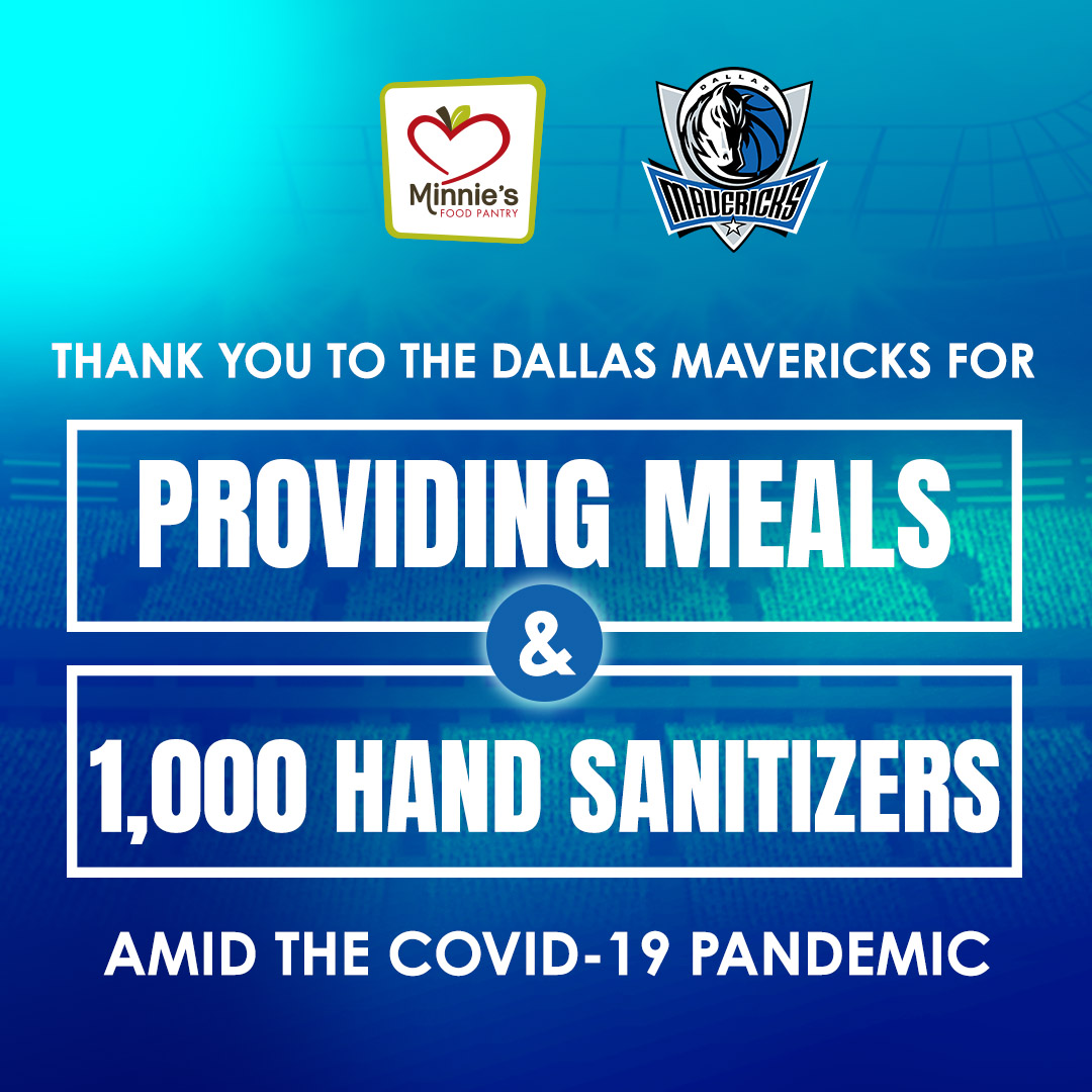 Dallas Mavericks provides hand sanitizer minnies food pantry